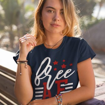Women's Free AF T-Shirt 4th July Shirt Patriotic America Shirts Memorial Day Shirt Hipster Freedom T Shirt