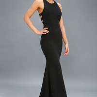 Power of Wow Black Backless Maxi Dress