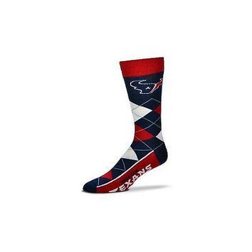 NFL Houston Texans Argyle Unisex Crew Cut Socks - One Size Fits Most