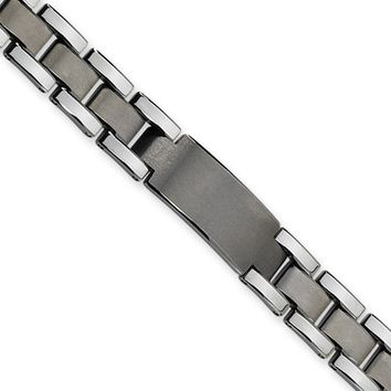 Men's 13mm Tungsten Brushed and Polished ID Bracelet 8.5 Inch