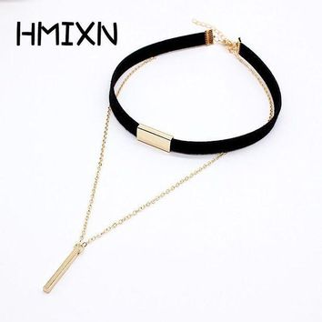 ac PEAPO2Q 2017 New Black Velvet Choker Necklace Strip rope Chain Bar Square tube strip Chocker Women collar mujer collier femme ras du cou