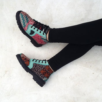 colorful ankle boots shoes US 7 women / EU 38 fabric brown turquoise red flowers, mint leather, handmade Rangkayo booties