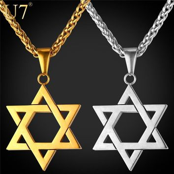 U7 Jewish Jewelry Magen Star of David Pendant Necklace Women Men Chain Gift Gold Color Stainless Steel Israel Necklace P723