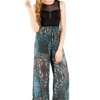 Flying Tomato Women's Print Mix Bustier Jumpsuit