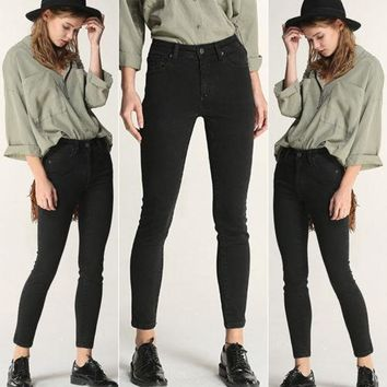 Trendy Women Trousers Skinny Jeans Pencil High Fashion Ladies Chic Plain Sexy Stretch Ripped Long Denim Hot Pants