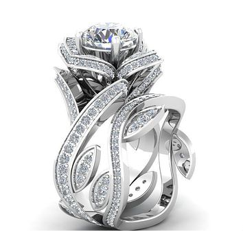 Museum 2CT Russian Lab Diamond Floral Wedding Bridal Set