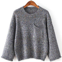 Grey Chest Pocket Loose Sweater