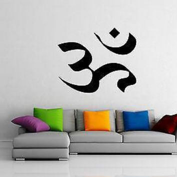 Wall Sticker Vinyl Decal Om Symbol Yoga Mind Spirit Work Out Sanskrit   Unique Gift EM530