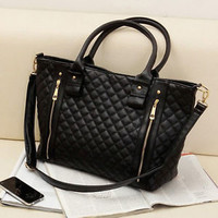 Women's Black Quilted Shoulder Tote Bag Handbag Purse