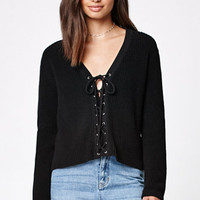 Kendall & Kylie Ribbed Lace-Up Sweater at PacSun.com