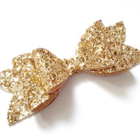 Large Gold Glitter Bow Clip - Child and Mummy Bow Clip - Baby, Child, Adult
