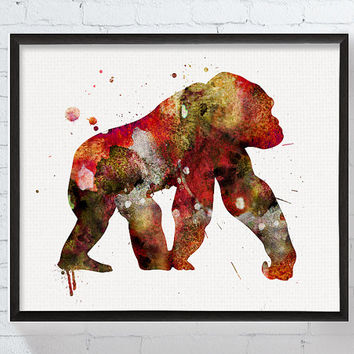 Watercolor Gorilla, Gorilla Art Print, Gorilla Painting, Poster, Nursery Wall Art, Kids Room Decor, Childrens Room Decor, Boys Room Decor