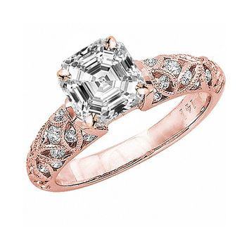 2.48 Ctw GIA Certified Asscher Cut Vintage Style Diamond Engagement Ring,
