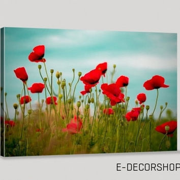 Large Wall Art Poppy Flower Giclee Canvas Art Print Framed Huge Poppy Canvas Printing | Poppy Photo