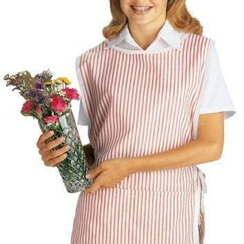 Medline 8583RCR Volunteer Cobbler Apron Candy Stripe - One Size Fits Most