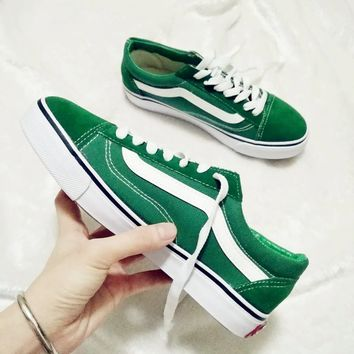 """Vans"" Casual Shoes Men and women Old School classic black cloth shoes Green"