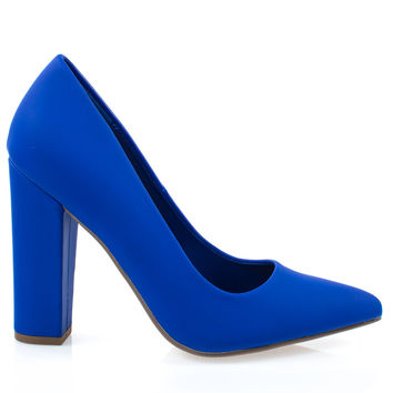 Ogden Cobalt Pu By Not Just A Pump, Women Retro Velvet Pump On Chunk Block High Heel