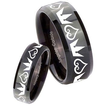 His Her's Hearts and Crowns Black Beveled Edges Tungsten Carbide Wedding Rings Set