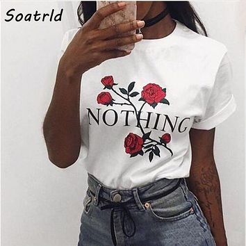 Nothing Letter Rose Print Female T Shirt