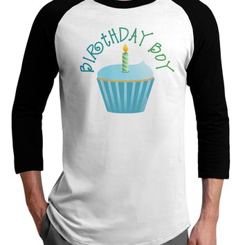Birthday Boy - Candle Cupcake Adult Raglan Shirt by TooLoud