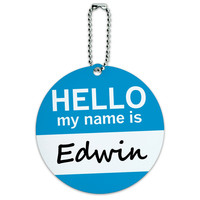 Edwin Hello My Name Is Round ID Card Luggage Tag