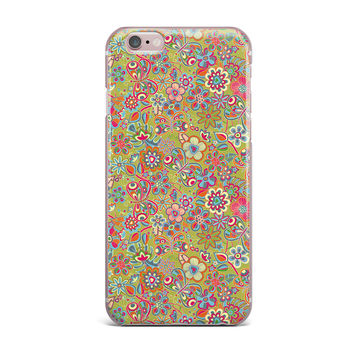"Julia Grifol ""My Butterflies & Flowers in Green"" Rainbow Floral iPhone Case"