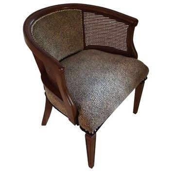 Pre-owned Barrel Caned Chair with Snow Leopard Fabric