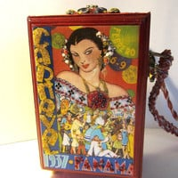 Upcycled Cigar Box Purse with Vintage Travel Labels, Brazil and 1937 Panama Carnaval