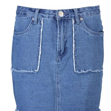 Helen Fray Detail Denim Mini Skirt | Boohoo