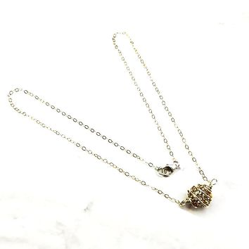 Sterling Silver Spiral Cage Crystal Pave Ball Necklace