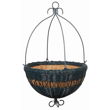 14-inch Hunter Green Resin Wicker Hanging Planter with Coco Fiber Liner