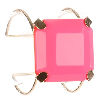 Pink Cushion Cut Lucite Stone Metal Wire Cuff Bracelet