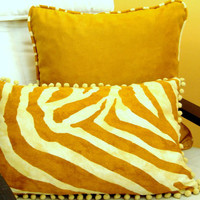 Animal print pompom 14x22 pillow cover – Tiger stripe cushion