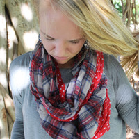Plaid & Dot Infinity Scarf in Red
