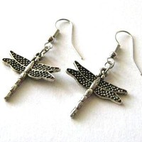 Antiqued Silver Dragonfly Earrings Jewelry | Luulla