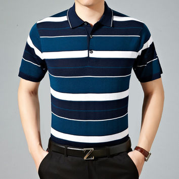 Summer Men Short Sleeve Casual Stripes Knit T-shirts [6544130691]