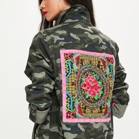 Missguided - Khaki Camo Embroidered Jacket