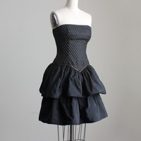 80s Vintage Black And Gold Sparkle Strapless Ruffle Skirt Mini Party Dress / Extra Small / Small