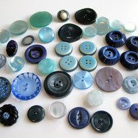 Assorted Blue Buttons Button Lot Antique Navy Gray Bakelite, wood, glass, celluloid, old plastic, bulk