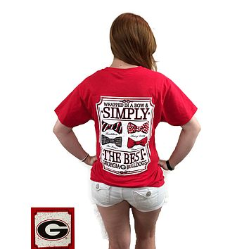 Georgia Bulldogs Simply The Best Multi Prep Bow Girlie Bright T-Shirt
