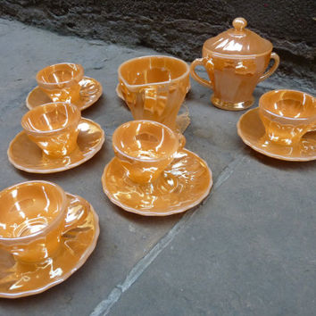 Peach gloss of Anchor Hocking glass coffee set, 40/50's
