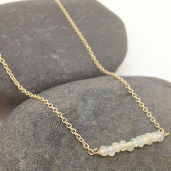 Gold Opal Beaded Bar Necklace