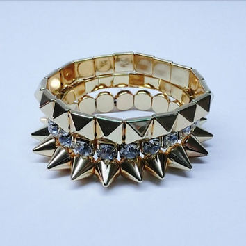 3 in Gold spiked bracelet set stretchy by DOLLSDIVASNDIAMONDS