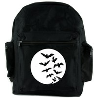 Full Moon w/ Flying Bats Backpack School Bag Goth Punk