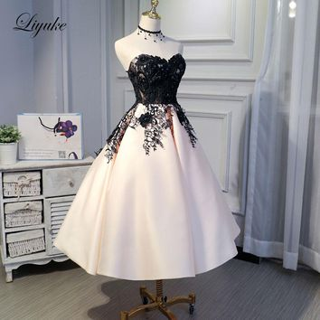 Liyuke Ruched Mix Black Custom Made New Prom Dress A Line Strapless Party Dress Knee-Length Lace Up Formal Dresses