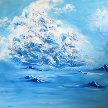 """Salt & Ice"" by Oksana Samarskiy, Textured Acrylic Painting on a 3 ft. by 3 ft. Canvas"