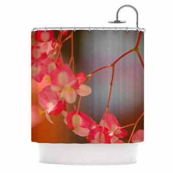 "NL Designs ""Hanging Flowers"" Pink Floral Shower Curtain"