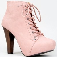Women's Qupid Velvet Lace Up Ankle Booties,Puffin-06 Nude Nubuck 6