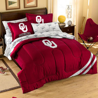 Oklahoma Sooners NCAA Embroidered Comforter Set (Twin-Full) (64 x 86)
