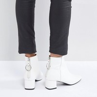 RAID Skylar White Mid Heeled Ankle Boots at asos.com